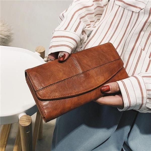 新款錢包女長款手拿包復古搭扣油臘皮夾大容量多功能女錢夾潮 至簡元素