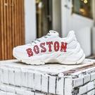 ISNEAKERS 波士頓 MLB 白色 BOSTON 增高 經典大LOGO 老爹鞋 復古風 韓妞著用