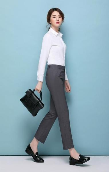 ★工作褲黑色正裝工裝休閒工作吸煙褲寬鬆職業西褲直筒九分西裝褲女秋季女