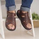 台灣製 男涼鞋 手工縫製男用簡約拖鞋 涼鞋 咖《生活美學》
