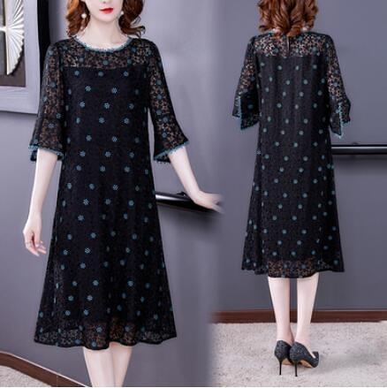 M-3XL胖妹妹大碼洋裝~小碎花真絲連身裙女蕾絲桑蠶絲裙子6099.H463A衣時尚