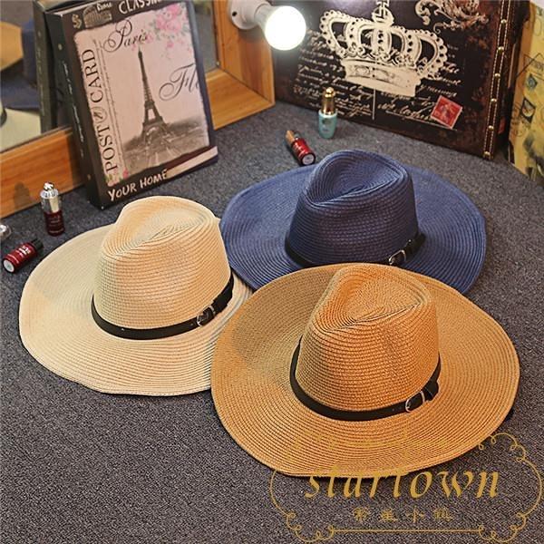 草帽可折疊牛仔帽戶外遮陽禮帽沙灘大帽檐【繁星小鎮】