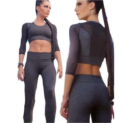 拼接網紗鏤空七分袖運動套裝(特價出清)
