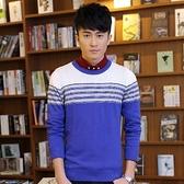 長袖針織衫-個性線條拚色造型男針織毛衣3色73ik72【時尚巴黎】