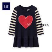 Gap女嬰兒 愛心圖案條紋針織長袖洋裝 399498-海軍藍色