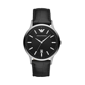 【Emporio Armani】美式經典優雅紳士簡約真皮腕錶-成熟黑/AR11186/台灣總代理公司貨享兩年保固