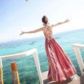 八八折促銷-波西米亞連衣裙海邊度假套裝女夏沙灘裙2018新品漏背性感吊帶裙仙
