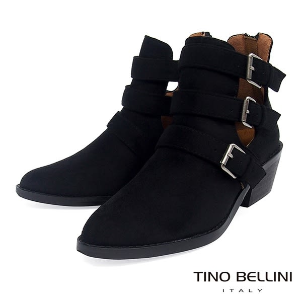 Tino Bellini 雙側鏤空多重釦帶中跟短靴 _ 黑 FS8506