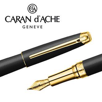CARAN d'ACHE 瑞士卡達 LEMAN 利曼霧黑漆鋼筆(金夾)-B / 支
