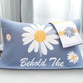 一對裝純棉紗布枕巾蓋全棉毛巾式家用枕頭巾歐式枕頭巾【聚寶屋】