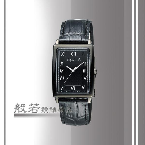 agnes b. 品味羅馬時尚腕錶-黑