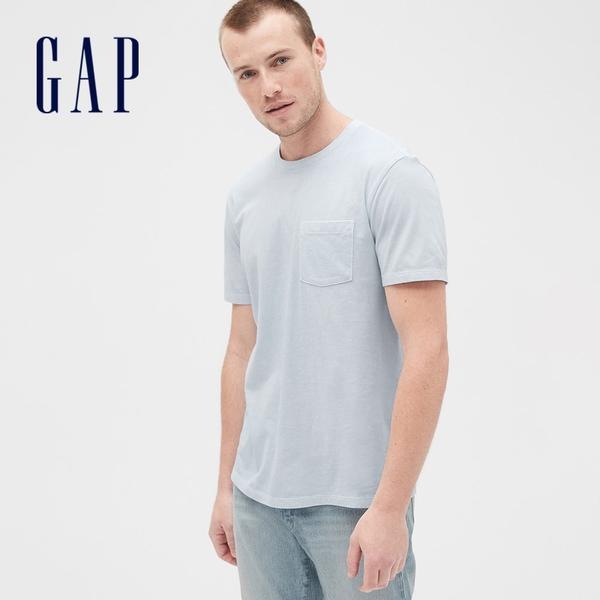 Gap男裝 復古水洗圓領短袖T恤 440773-淺藍色