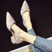 女鞋 單鞋女新品免運中跟鞋正韓百搭平底鞋子中跟尖頭淺口粗跟乖乖瓢鞋