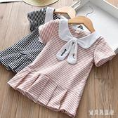 女童短袖百褶洋裝 2019女童夏季新款時尚娃娃領休閒學院風 BT8015『寶貝兒童裝』
