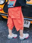 夏裝男童牛仔七分褲童裝兒童中褲寶寶運動褲夏季中小童七分短褲潮   米娜小鋪