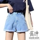 EASON SHOP(GW5763)實拍水洗丹寧多口袋收腰牛仔褲女高腰短褲休閒褲顯瘦直筒褲寬褲顯腿長熱褲黑藍白