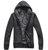 2019秋冬季男士衣服 青年毛線衣外套 加絨加厚針織開衫 修身棉服棉襖男裝 休閒男士保暖外套
