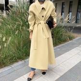 秋冬韓國簡約復古奶油黃翻領單排扣寬鬆休閒長款毛呢外套風衣 遇見初晴