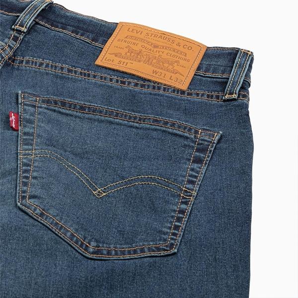 Levis 男款 511低腰修身窄管牛仔褲 / Cool Jeans 輕彈有型 / 深藍微刷白