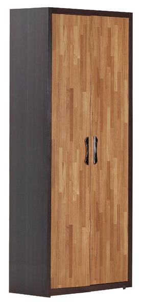 【森可家居】亞瑟2.7尺柚木集層雙吊衣櫃(單只) 7JF024-1 衣櫥 工業風 木紋質感