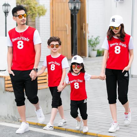 韓版運動字母8短袖上衣親子裝(大人)