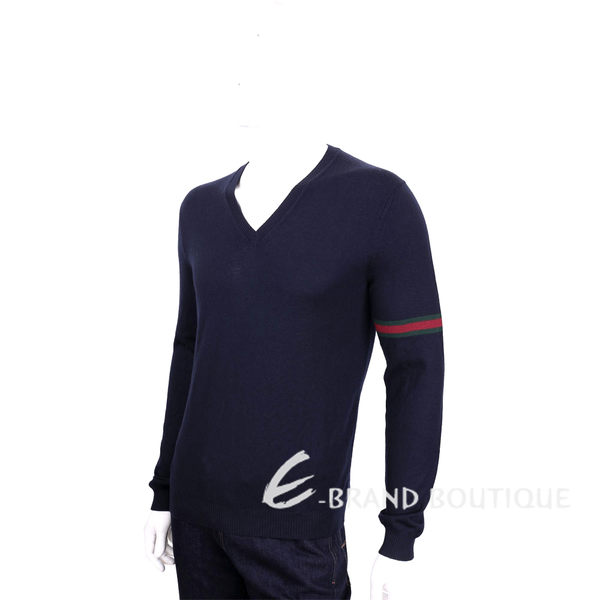 GUCCI 深藍色織帶設計V領羊毛針織長袖上衣(100%WOOL) 1620249-34