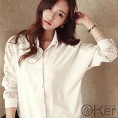 時尚OL氣質透膚蕾絲拼接翻領雪紡襯衫 O-Ker LL9019-C