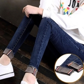 高腰加絨牛仔褲女韓版顯瘦學生小腳鉛筆長褲子黑色正韓 免運