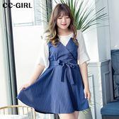 中大尺碼 氣質雪紡豎條紋洋裝(附綁帶) - 適XL~4L《 64846G 》CC-GIRL 新品