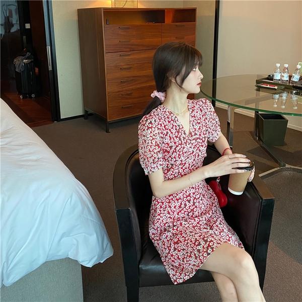 出清388 韓國風復古V領顯瘦小香風碎花雪紡短袖洋裝