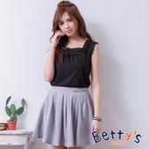 betty's貝蒂思 側壓織帶後鬆緊刺繡褲裙(淺灰)