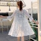 蕾絲防曬衣女夏2021新款韓版中長款外搭薄款外套度假披肩空調開衫 快速出貨
