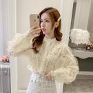 限時特價 蕾絲襯衫女秋裝新款韓版寬松網紗拼接長袖襯衣洋氣打底上衣潮