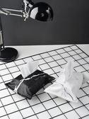 ins大理石紙巾盒布藝北歐簡約黑白紋紙巾袋抽紙盒收納盒面紙巾套