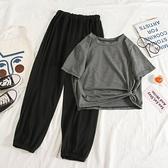 套裝 2020新款夏韓版網紅洋氣時尚休閒運動套裝女短袖九分寬管褲兩件套