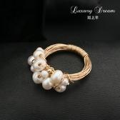 原創設計款巴洛克淡水珍珠多珠食指戒指女大氣通勤百搭款指環Mandyc