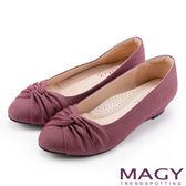 MAGY 復古上城女孩 扭結布料質感楔型低跟鞋-紅色