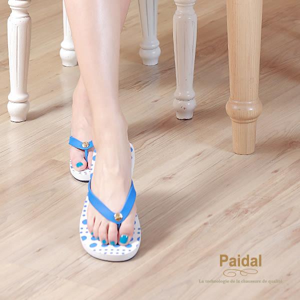 Paidal 水玉圓點夾腳涼拖鞋-藍
