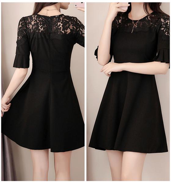 喜慶宴會彈力lace圓領七分喇叭袖洋裝 (黑 紅)二色售 11850054