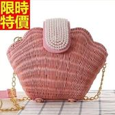 手提包-藤編美人魚珍珠貝殼女草編包3款68h11【巴黎精品】