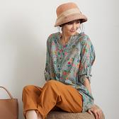 【慢。生活】文藝碎花薄款休閒襯衫 7223-66  FREE 粉藍色
