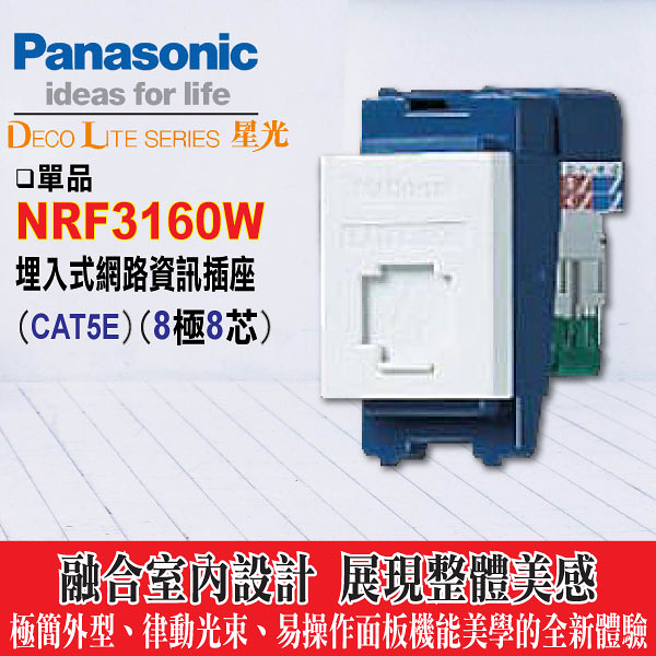 Panasonic《國際牌》星光系列 NRF3160W 資訊插座8極8芯【網路插座cat5e】單品不含蓋板