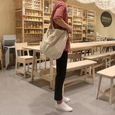 新款簡約學生帆布包男女韓版休閒單肩斜背包手提包 全館免運