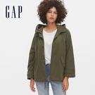 Gap女裝休閒寬鬆式按扣連帽外套541546-橄欖綠