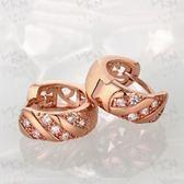 耳環 玫瑰金純銀 鑲鑽-韓版甜美螺旋造型生日情人節禮物女飾品2色73bu12【時尚巴黎】