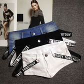 夏季牛仔短褲女夜店女裝織帶性感齊比熱褲顯瘦低腰破洞超短褲 年終尾牙交換禮物