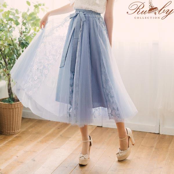花朵蕾絲綁帶蝴蝶結長紗裙