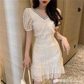 氣質女神范裙子新款輕奢重工法式V領魚尾亮片蕾絲洋裝女夏
