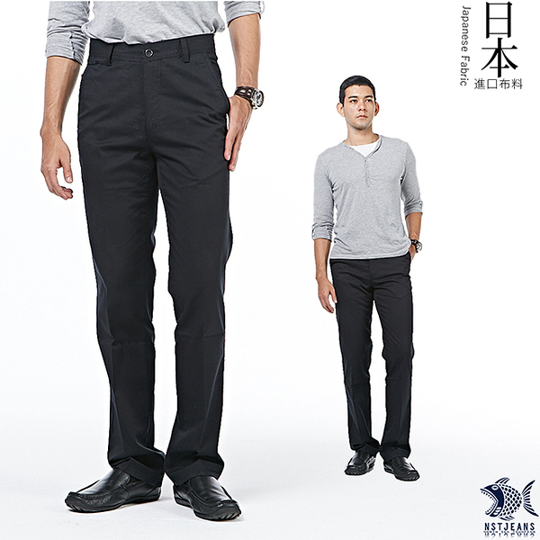 【NST Jeans】日本布料_經典Black暗條紋 休閒長褲(中腰) 390(5602) 台製 紳士 男 大尺碼 夏季薄款