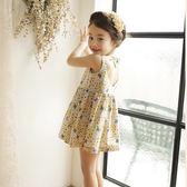 韓版童裝夏小碎花女童連身裙中小童全棉純棉露背兒童裙子 易貨居